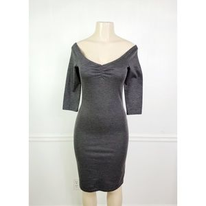 Zara Off Shoulder Gray Bodycon Dress Size M.